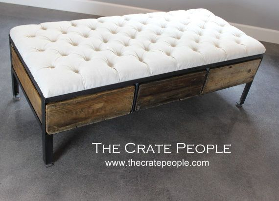 Reclaimed tufted ottoman or crate drawer coffee table