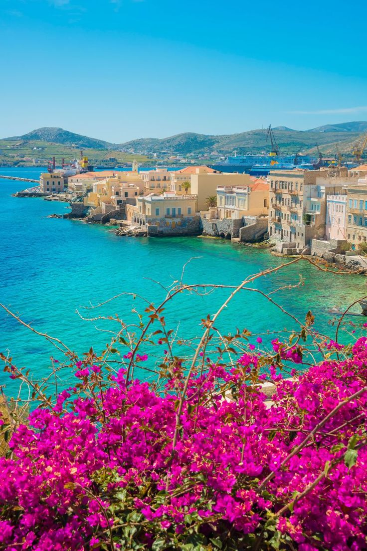overlooking Vaporia, Syros island, Greece