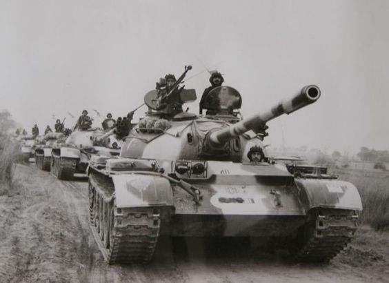 Pakistani Tank Regiment with Type 59 tanks on the move during the 1971 Indo-Pakistani war