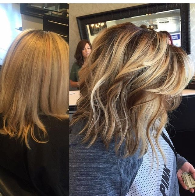 Blonde Balayage highlights, darkened roots with painted on highlights and lowlights before-after color makeover