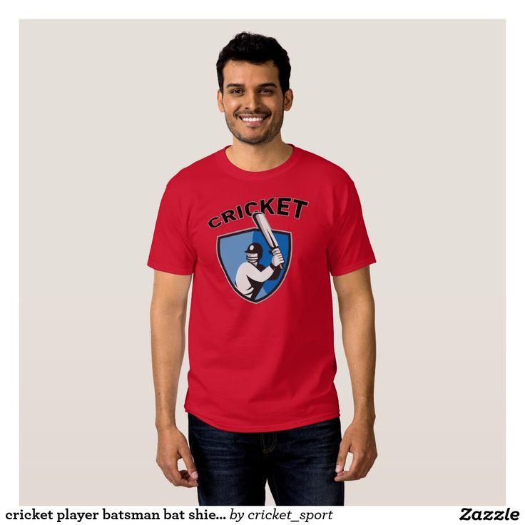 cricket player batsman bat shield retro t shirt. Cricket World Cup men's t-shirt with an illustration of a cricket player batsman batting with bat set inside shield done in retro style. #cricket #cricketworldcup #t20worldcup #worldtwenty20 #t20worldcup2016