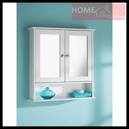 Double Door Wall Mirror Storage Cupboard Bathroom Cabinet