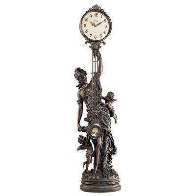 Basil Street Gallery Grand-Scale Flora Sculptural Swinging Pendulum Table Clock