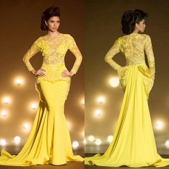 Show your best to all people even in the evening and then get fashion lace formal evening dresses with long sleeves mermaid appliqued sheer jewel neck peplum prom dress yellow transparent evening gowns in dresstop and choose wholesale short dresses,debs dresses and long dress on DHgate.com.