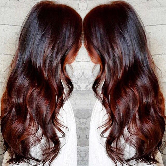 Red brunette hair color melt ombre on this beauty by stylist Masey at Butterfly Loft salon in Encino, Los Angeles.  #haircolor #hairstyle #hairinspiration #hairideas