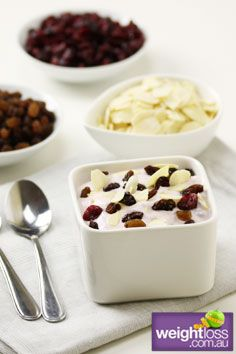 Yoghurt with Mixed Dried Fruit. #HealthyRecipes #DietRecipes #WeightLossRecipes weightloss.com.au
