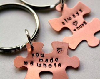 Puzzleteil Schlüsselbund, Valentines für ihn, Puzzle-Stück Schlüsselbund, Geschenk für Freund, Romantic Valentine, Valentinstag, Sexy Valentines