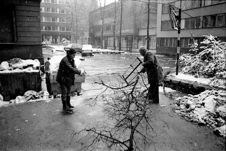 Citizens of Sarajevo collecting firewood during the Siege of Sarajevo