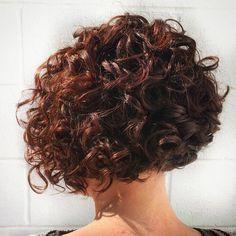 Short Curly Mahogany Bob Hairstyle