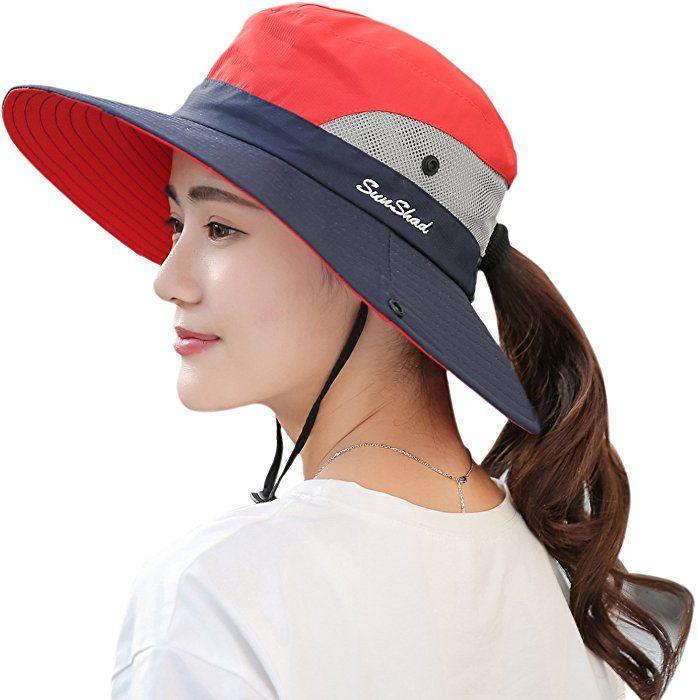 Womens Ponytail Safari Sun Hat,Wide Brim UV Protection Outdoor Bucket Hat,Foldable Beach Summer Fishing Hat