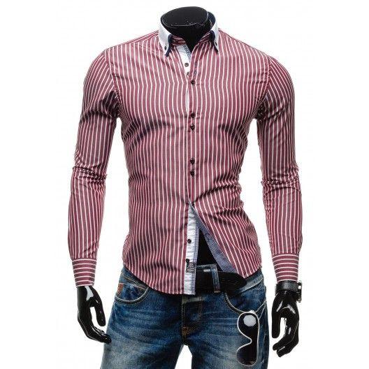 Pánska pásikavá košeľa červenej farby - fashionday.eu