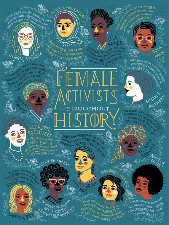 Female Activist Throughout History Poster     50% of the