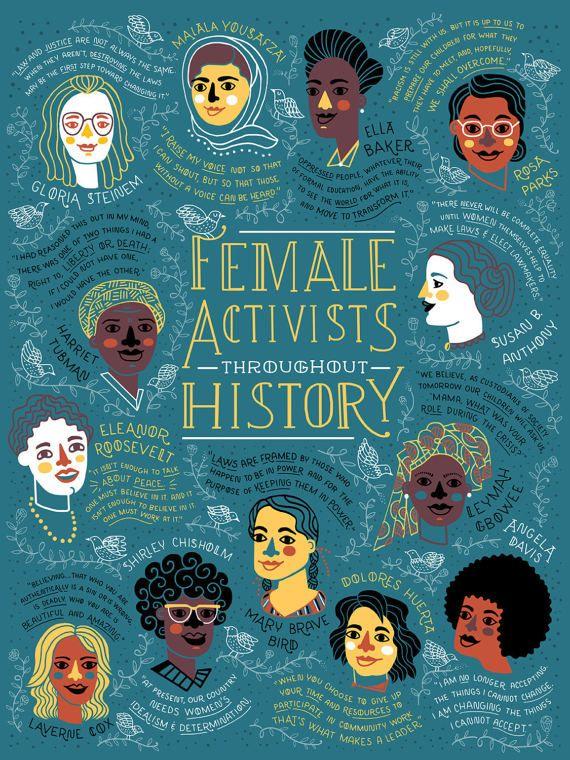Ces femmes ont combattu, organisé et a protesté contre l'inégalité qu'ils ont vu autour d'eux. Cette affiche célèbre comment ils ont contribué à créer un avenir meilleur. J'espère que cette illustration qui vous inspire à utiliser votre propre voix unique pour résister et combattre l'injustice.  Avec chaque achat de 50 % des profits (20$) sera remis à l'ACLU en votre nom.   STATS DE ART DE TRAVAIL : • taille du papier: 18 po x 24 en affiche. • imprimés sur papier affiche • imprimé avec des e...