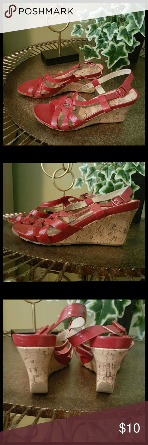 Red Wedge Heels Excellent condition! Size 11M, 3.5 inch heel Box not included.  Bundle and save! Kenneth Cole Reaction Shoes