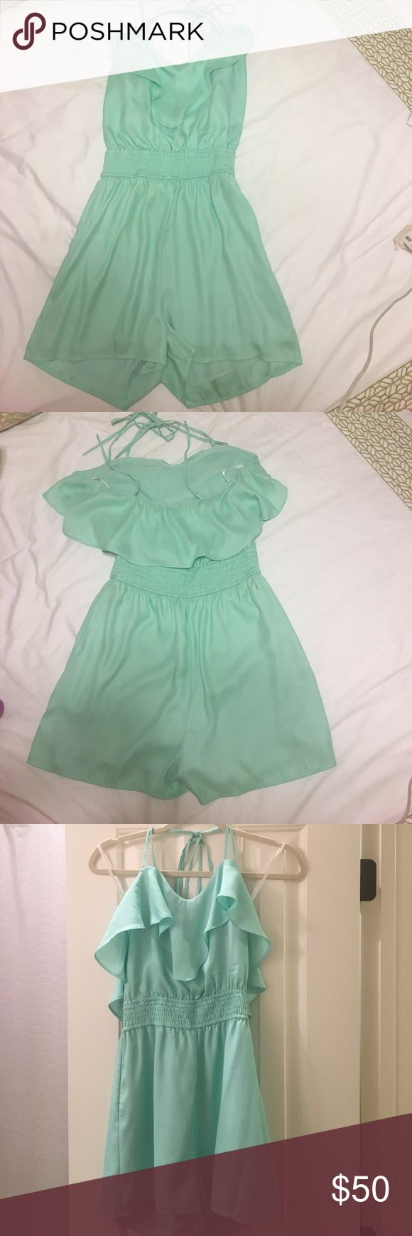 BCBG Romper Aqua/Green, Ruffles along the top on the front and back, silky, perfect length, VERY comfortable!! Only worn once or twice. BCBGeneration Other