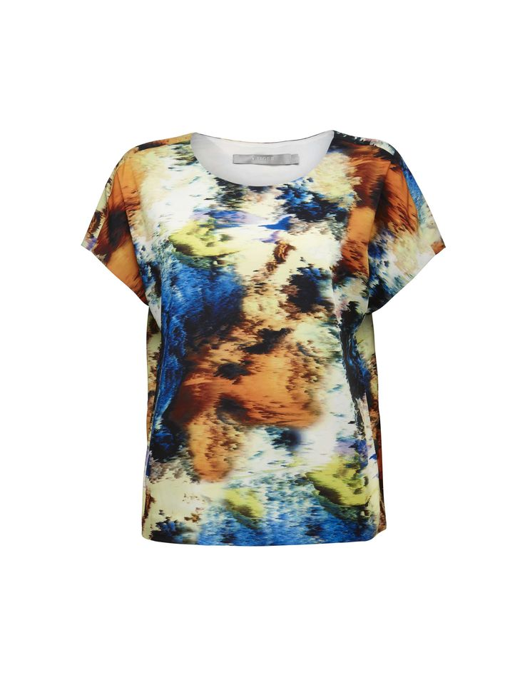 Danise print t-shirt - Women's printed t-shirt in satin-stretch. Fully lined. Relaxed fit. Hip length.
