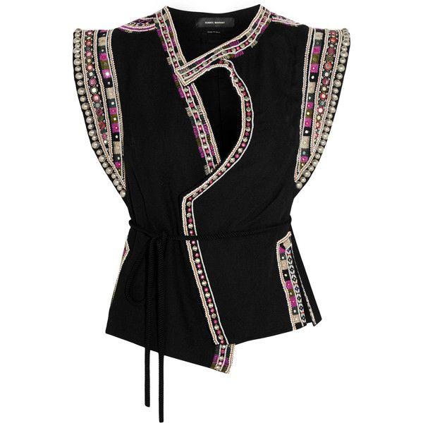 Isabel Marant Blaine embellished wool-crepe vest (35,530 INR) ❤ liked on  Polyvore