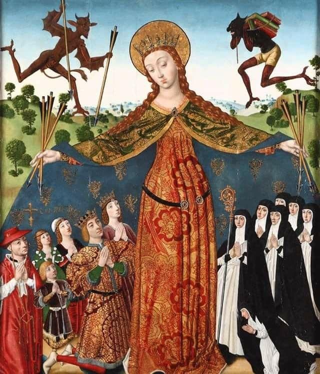 Diego de la Cruz, La Virgen de la Misericordia con los Reyes Católicos y su familia. Monasterio de las Huelgas, Burgos, Испания. 15в.