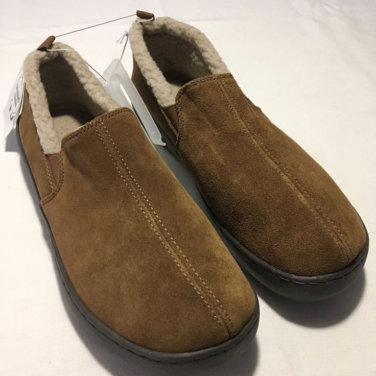 Moccasin Slippers Men's Carson Brown Suede Fleece Lined Indoor Outdoor #Carson #MoccasinSlippers