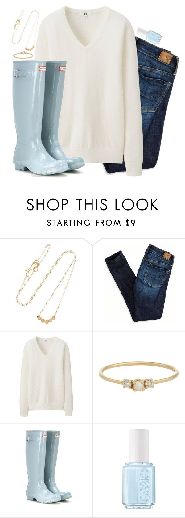 """""""I need some inspiration--comment your 2 favorite accounts"""" by preppy-classy ❤ liked on Polyvore featuring Melissa Joy Manning, American Eagle Outfitters, Uniqlo, Jennie Kwon, Hunter and Essie"""