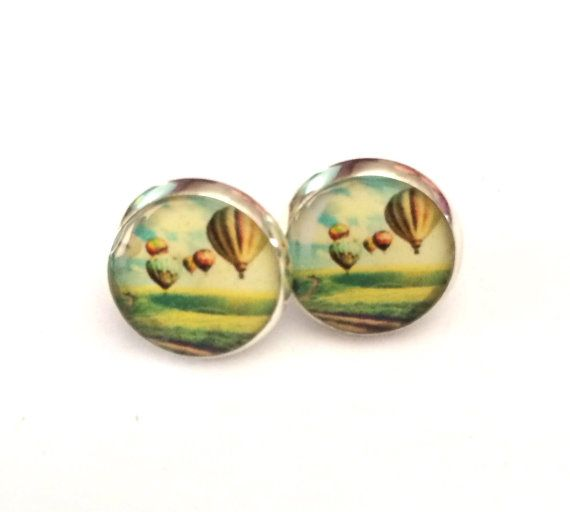Hot Air Balloon Resin Stud Silver Earrings by MyBlossomCouture,