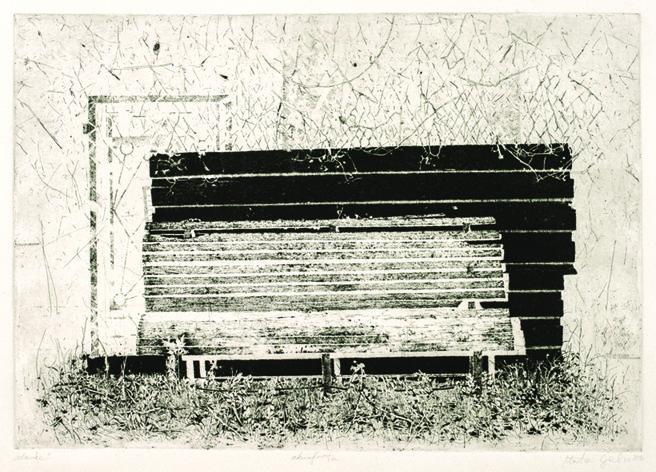 "Marta Galisz ""Ławka"" akwaforta / pejzaż / etching / landscape"