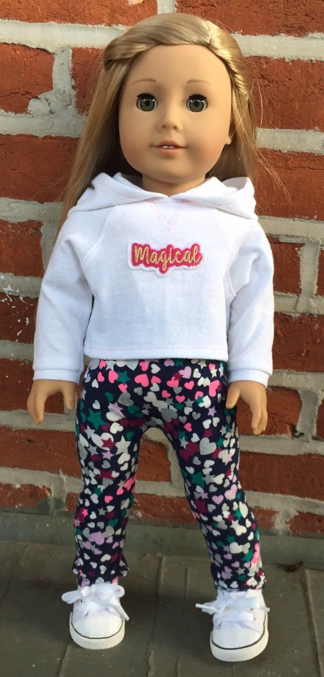 """White Printed Spandex Leggings Doll Clothes for 18/"""" American Girl Dolls"""