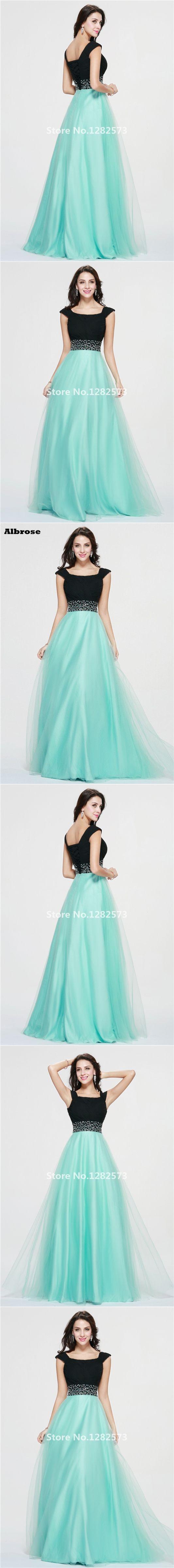 Black and Mint Evening Dress 2017 Cap Sleeve Elegant Evening Dresses Long Tulle robe de soiree Chic vestido de noche abiye