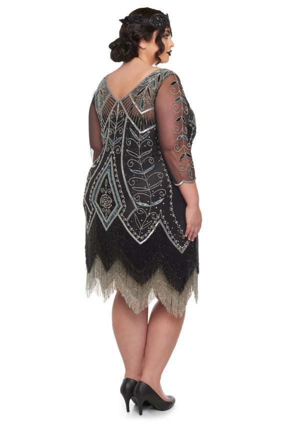 Plus Size Scarlet Black Silver Flapper Dress With Sleeves