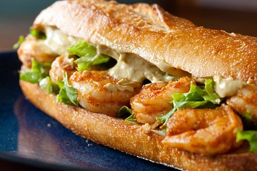 Spicy shrimp sandwich with chipotle avocado mayonnaise.: Fun Recipes, Chipotle Avocado, Avocado Mayonnaise, Spicy Shrimp, Shrimp Po Boy, Food, Po Boys, Shrimp Sandwiches, Yummy