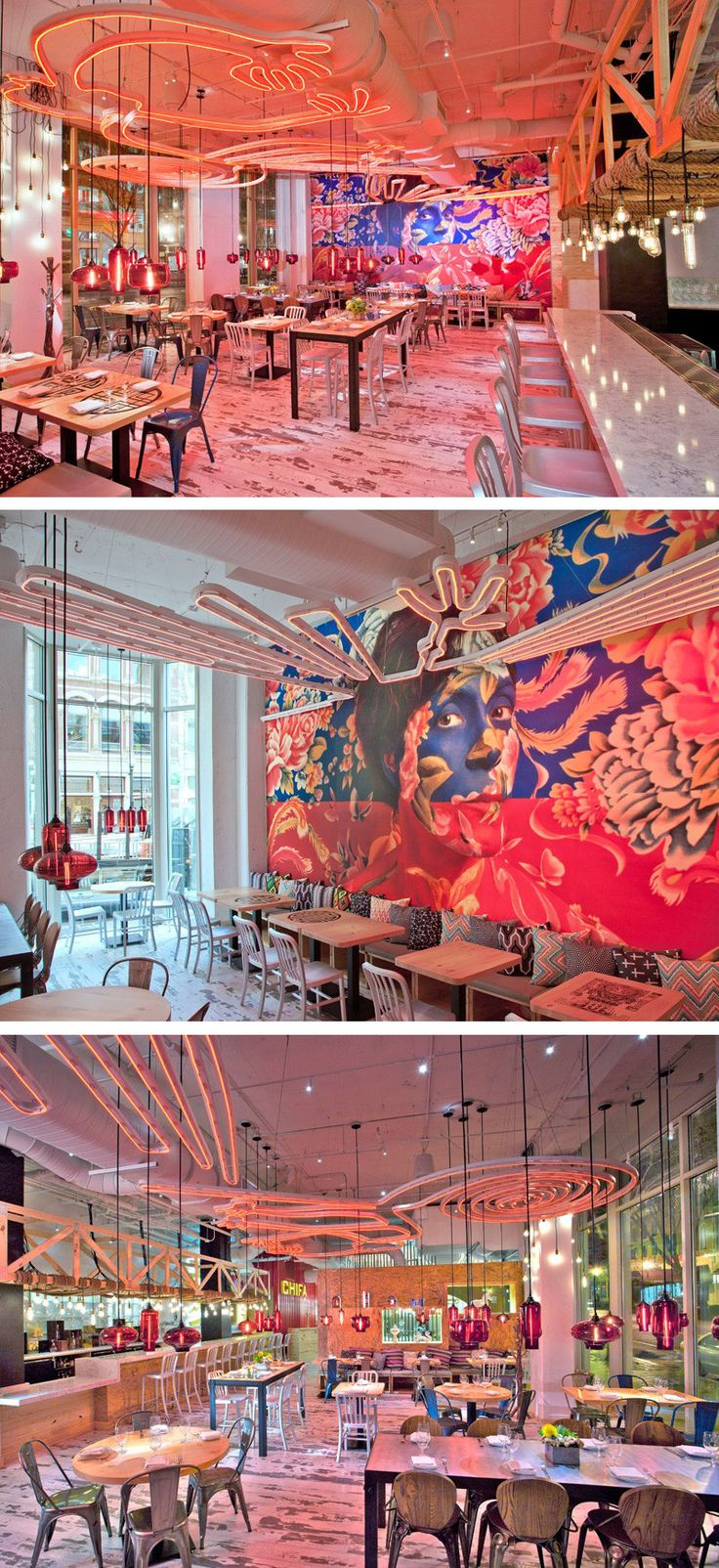 A large mural covers the wall of this brightly colored restaurant.