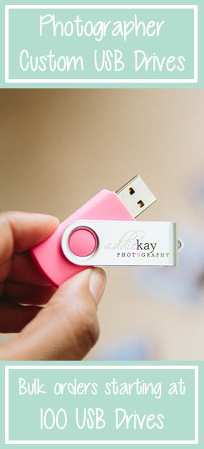 Custom USB Drives for Photographer Business. 100 Flash Drives per order. $435 for 100 (8GB) USB Drives. $620 for 100 (16GB) USB Drives. Sold in bulk, these USBs are great for delivering digital photos to clients in a creative way. They complement albums, folders, boxes, and all photography packaging ideas.