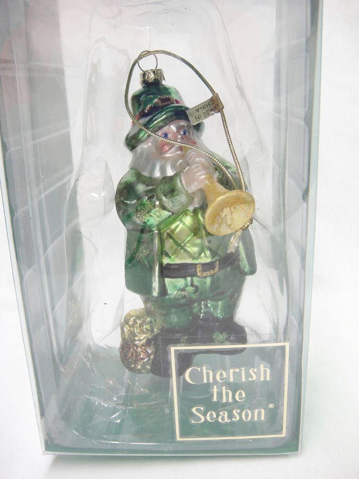 "Irish Green Santa Glass Christmas Ornament Playing Horn Bag Gold Leprechaun 5"""