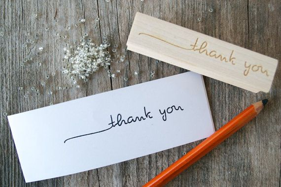 Thank you stamp Handwritten  5 x 3 by PerrodinSupplyCo on Etsy, $18.00