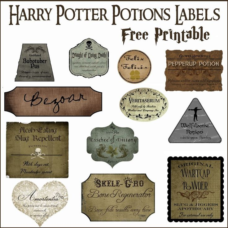 Download these free potions labels and make plain bottles more magical.                   Image Source: Ove...