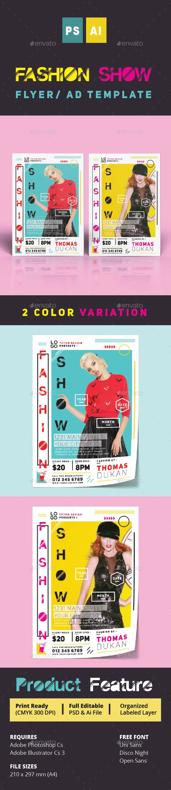 Fashion Show Flyer #posh #poster #psd • Available here → http://graphicriver.net/item/fashion-show-flyer-/15622822?ref=pxcr