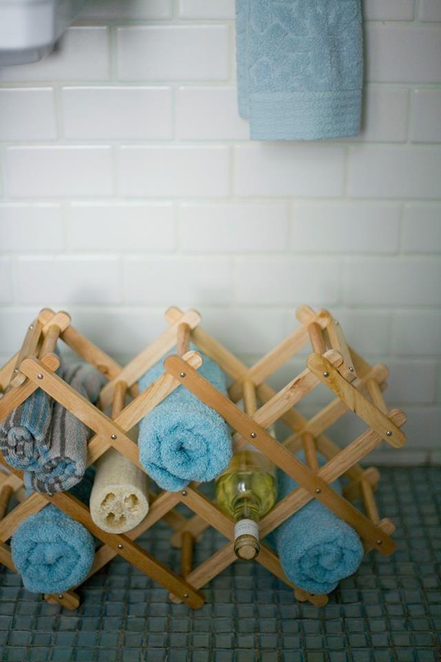 wine rack for towel storage!