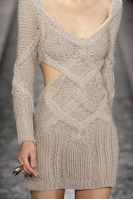cable knit dress on the runway http://knittingisawesome.com/knitted-dress-on-the-runway/