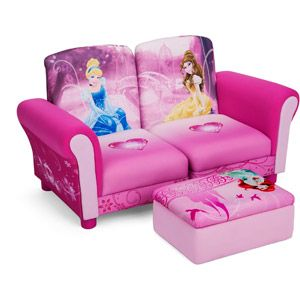 Disney -  3 Piece Upholstered Set, Princess Connecting Sofa Couches and Ottoman Set Walmart.