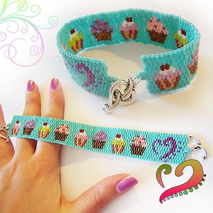 Cupcake Lovers Beadwork Bracelet Pink Purple door dicopebisuteria