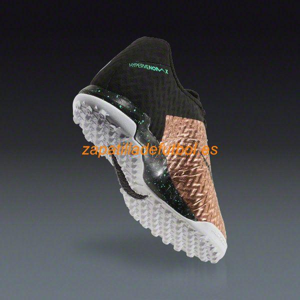 El mas barato Zapatillas de futbol Sala Nike Hypervenom X Finale TF El Estano Metalico Negro Blanco