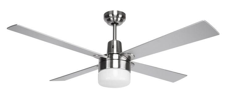 Windy Ceiling Fan 120cm 60W Reversible w Light in White or Nickel Domus Lighting