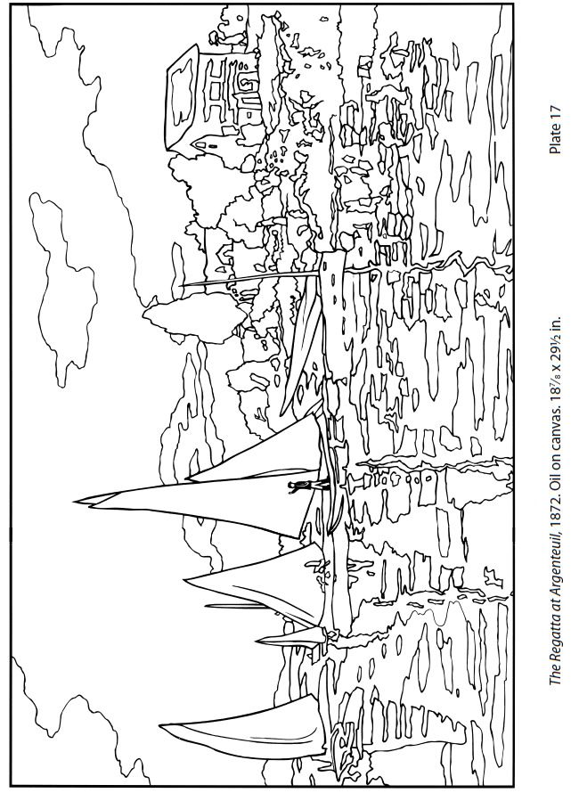 Free Monet Coloring Page   The Regatta at Argenteuil by Monet. CC Cycle 2 Week 16