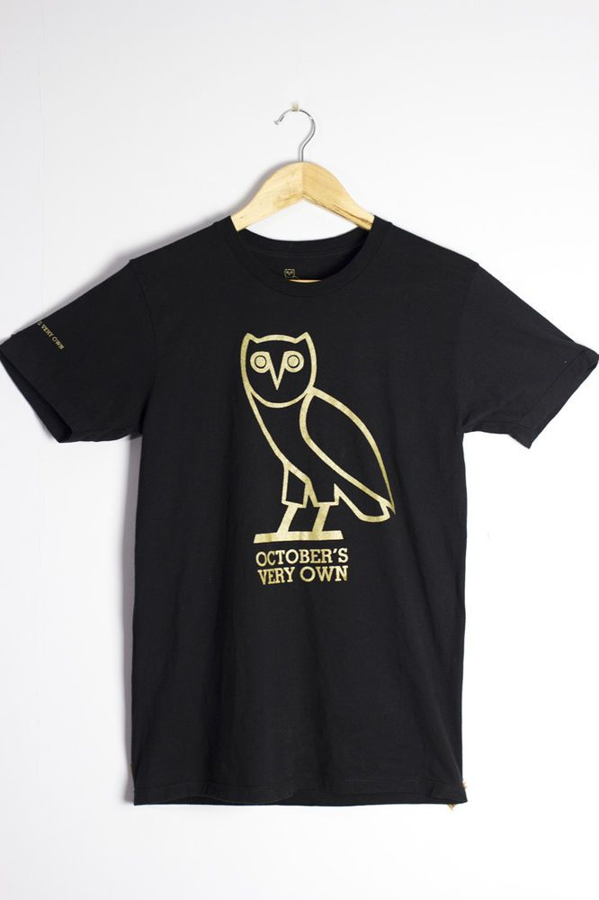 Octobers Very Own OVO T Shirt Size Small (Official Drake Merch) Owl Black & Gold