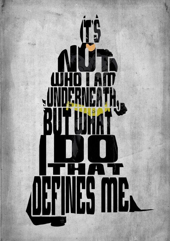 Es ist nicht, wer ich bin darunter, aber was ich tue, das mich definiert..  Batman, Dark Knight Poster - Minimalist Typografie Poster Print