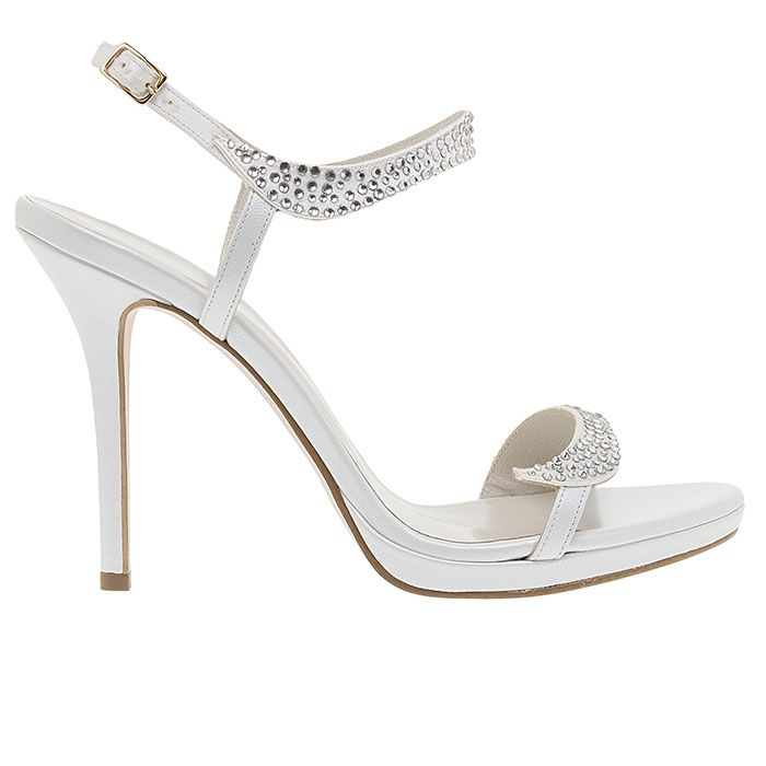 1008B32-WHITE LEATHERwww.mourtzi.com #sandals #heels #mourtzi #bridal #weddingshoes #bride