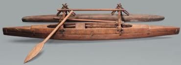 """A very sleek """"paopao"""" model. A type fishing canoe built in the center of the Tuvalu islands, more precisely NUI. Research by Francis Pimmel"""