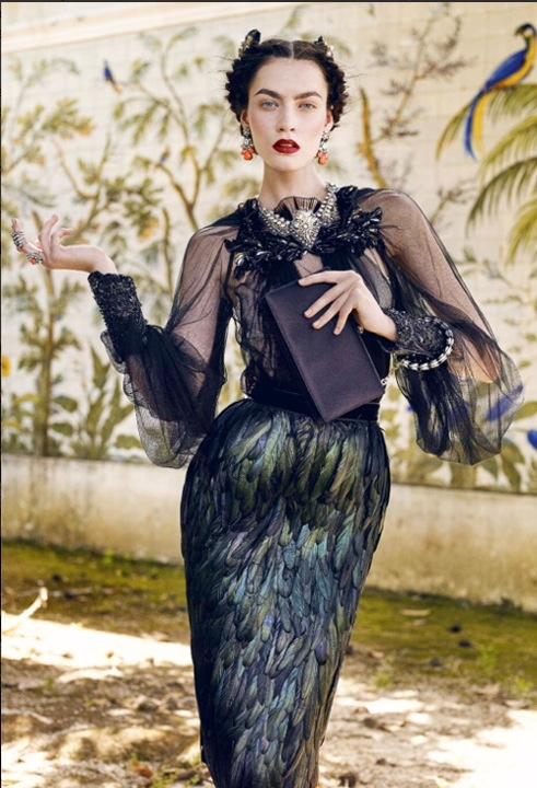 Peacock Dress worn by model Patrycja Gardygajlo - Vogue Portugal September 2012. Wish I knew who the designer of the dress is. If you know, please leave a comment. Thanks.