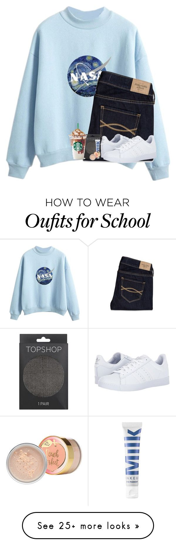 """School is in 2 weeks"" by brynnss on Polyvore featuring Abercrombie & Fitch, adidas, Topshop and MILK MAKEUP"