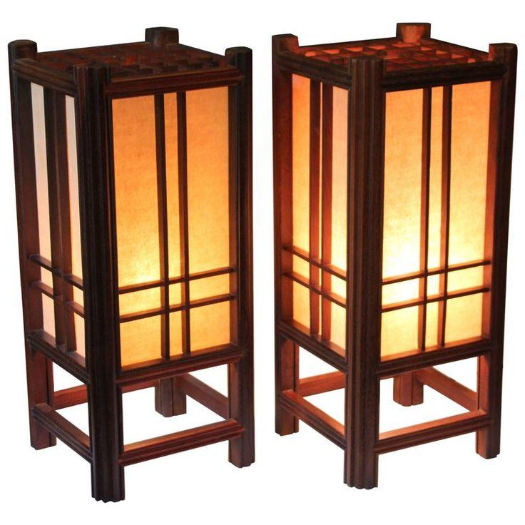 Pair of Vintage Japanese Electric Lantern Lamps Prairie School Mission Rosewood   1stdibs.com